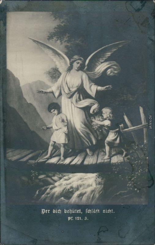 Ansichtskarte  Kinder und Engel - Der Herr behütet, schläft nicht 1918