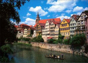 Ansichtskarte Tübingen Neckarpartie mit Stiftskirche und Stocherkahn 1980