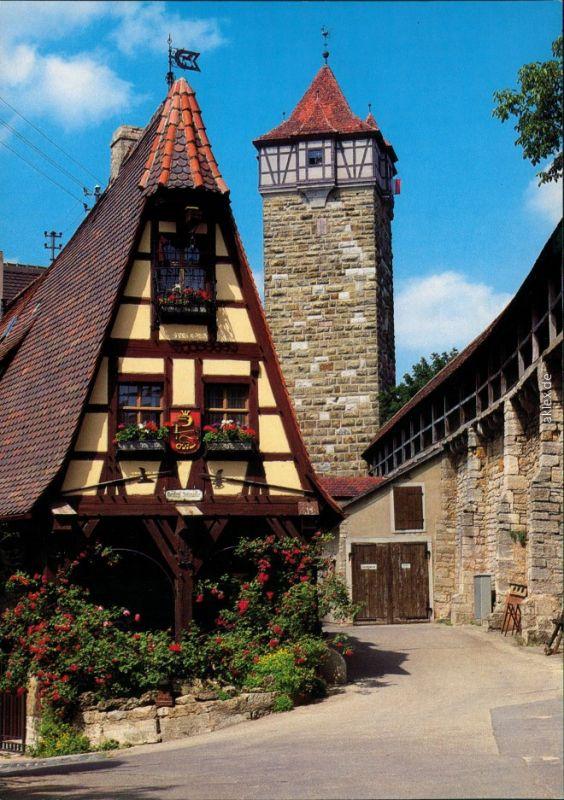 Rothenburg ob der Tauber Alte Schmiede an der Röderschütt, Forge und Wall 1980