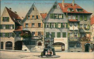 Ansichtskarte Stuttgart Hans im Glück Brunnen 1910