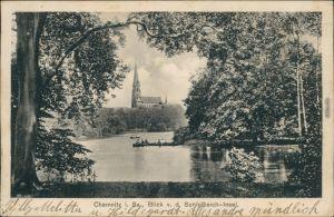 Ansichtskarte Chemnitz Karl-Marx-Stadt Blick auf die Schloßteich Insel 1932