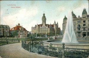 Ansichtskarte Leipzig Straßenpartie, Brunnen - Neues Rathaus 1906