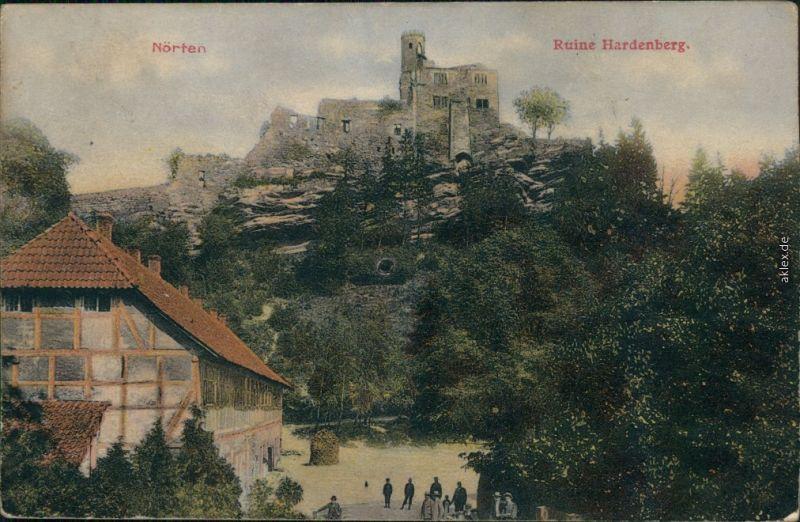 Nörten-Hardenberg Fachwerkhaus, Straßenpartie und Ruine b Northeim 1913