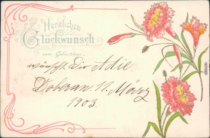 Ansichtskarte  Jugendstil-Blumen - Ornament - Geburtstag 1903 Prägekarte