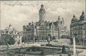 Ansichtskarte Leipzig Straßenpartie am Neuen Rathaus 1905