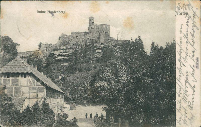 Ansichtskarte Nörten-Hardenberg Fachwerkhaus - Weg zur Ruine Hardenberg 1905