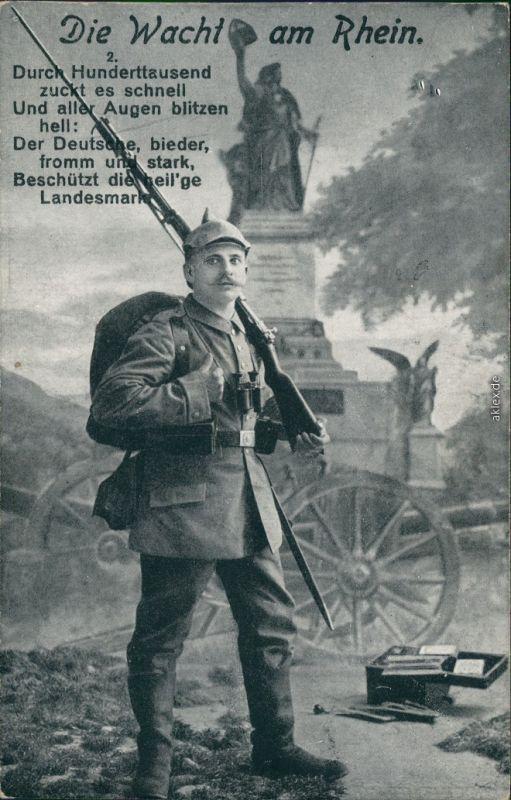 Ansichtskarte Rüdesheim (Rhein) Die Wacht am Rhein Soldat - Patriotika 1916