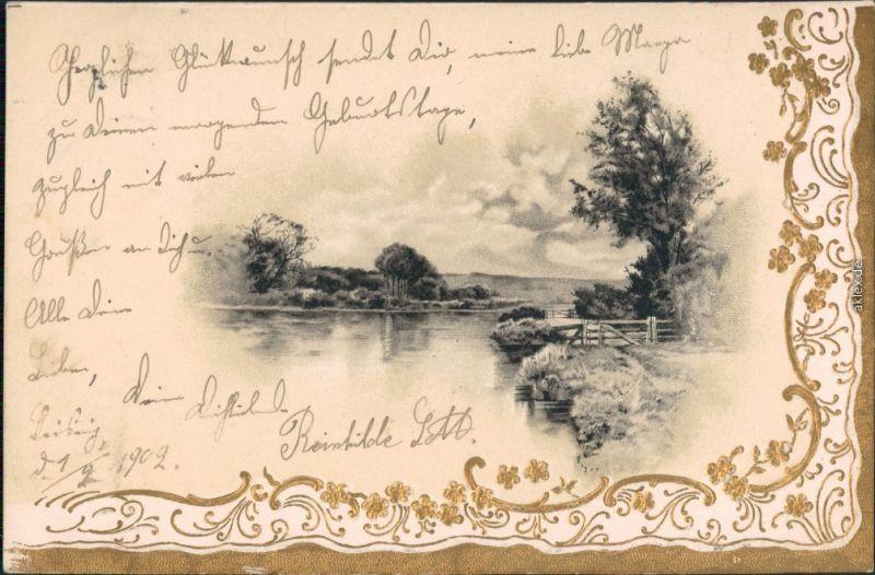 Ansichtskarte Döbeln Panorama-Ansicht - See mit Uferbereich 1902 Goldrand
