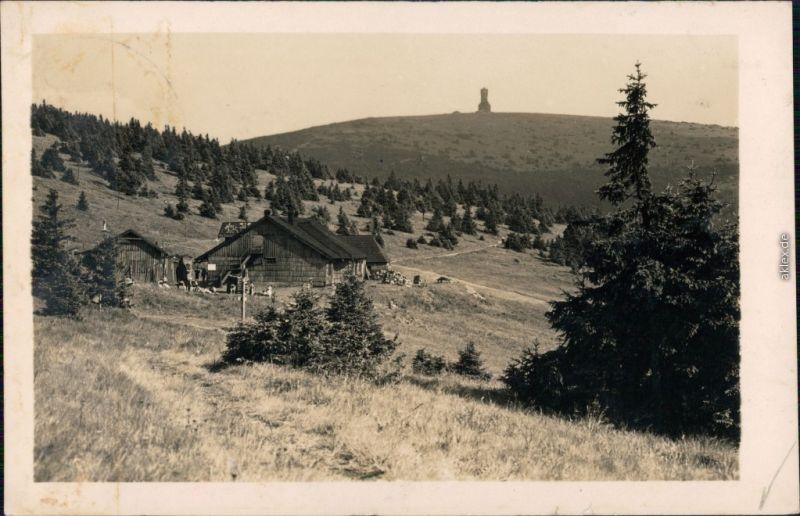 Freudenthal (Schlesien) Bruntál Altvatergebirge Hütte und Turm 1941