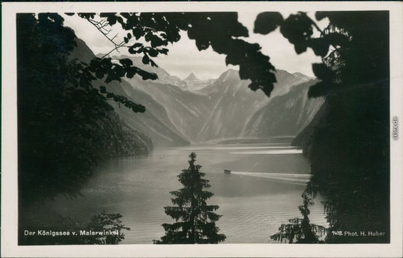 Ansichtskarte Schönau am Königssee Malerwinkel mit Königssee 1938