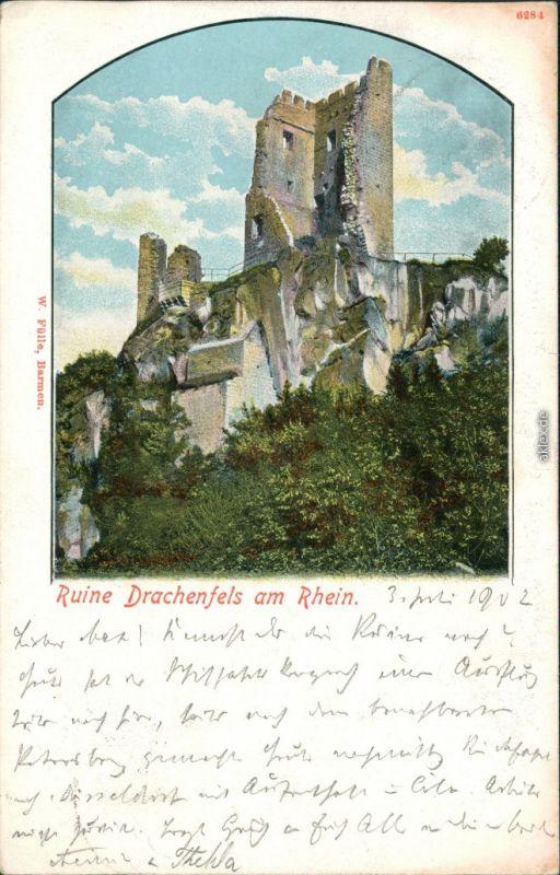 Ansichtskarte Königswinter Ruine Drachenfels am Rhein 1902