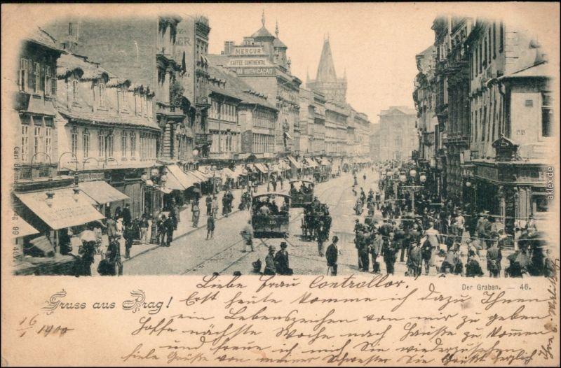 Ansichtskarte Prag Praha Straßen Szene - belebt Straßenbahn   1909