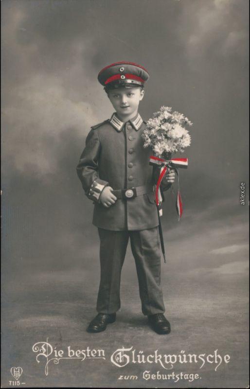 Glückwunsch/Grußkarten: Geburtstag - Kind in Uniform Patriotika WK1 1916