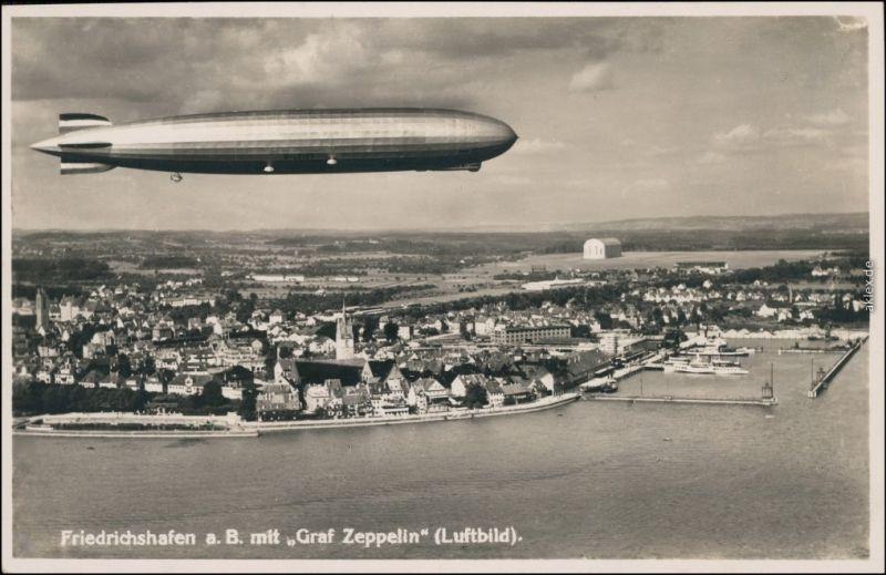Friedrichshafen Luftschiff Graf Zeppelin LZ 127 über Friedrichshafen 1934