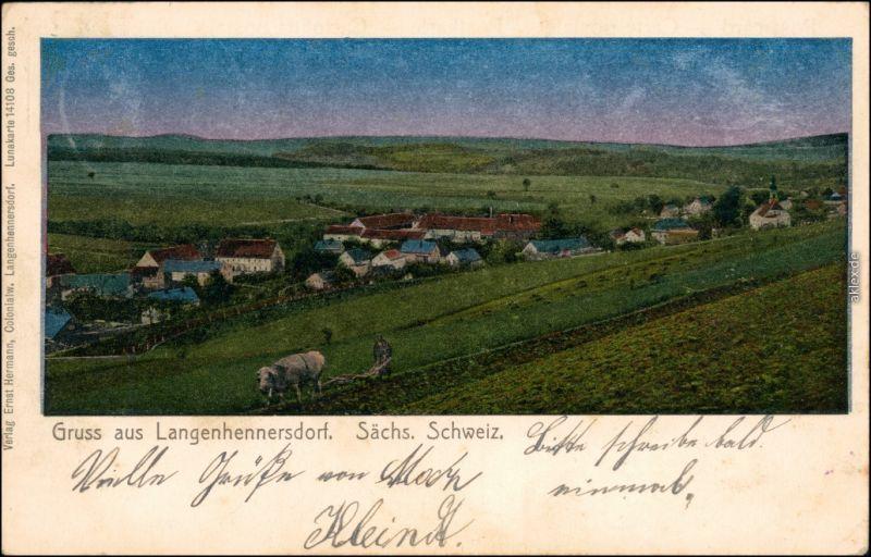 Langenhennersdorf-Bad Gottleuba-Berggießhübel Blick auf die Stadt 1908 Luna