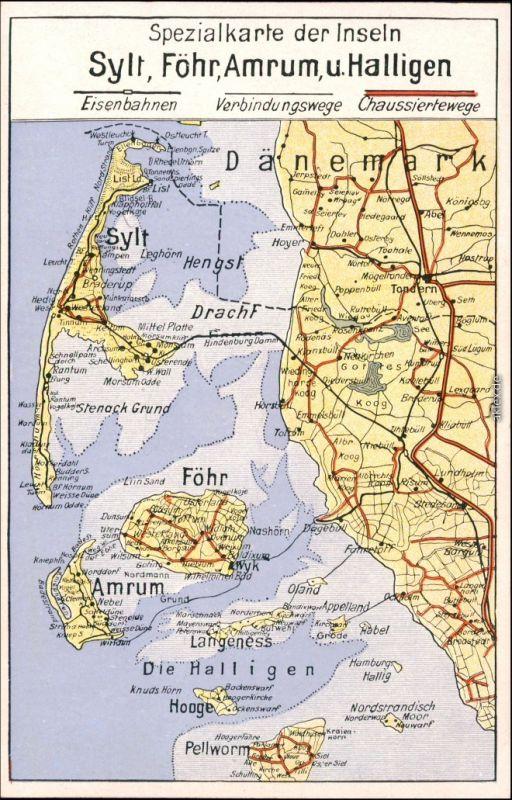 Karte Sylt Amrum.Ansichtskarte Gemeinde Sylt Insel Sylt Föhr Amrum U Halligen Karte 1930