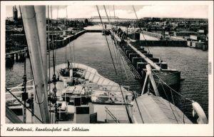 Ansichtskarte Holtenau-Kiel Holtenå Kanaleinfahrt mit Schleusen vom Schiff 1955