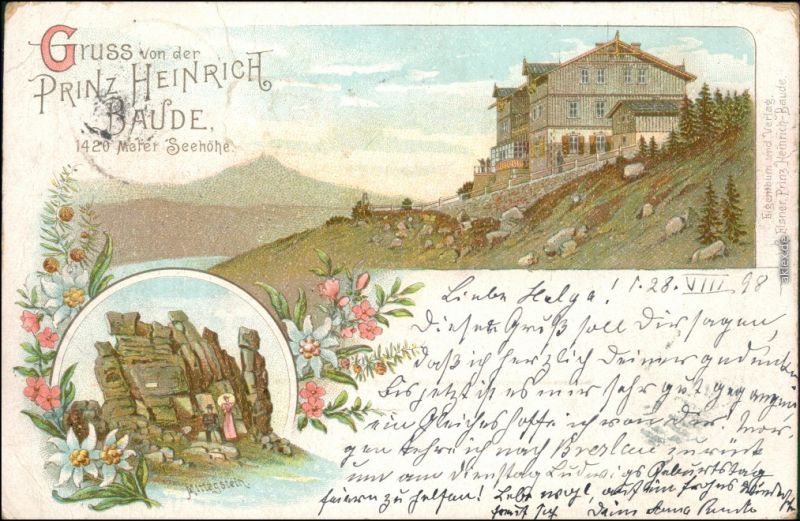Ansichtskarte Krummhübel Karpacz 2 Bild Litho: Prinz Heinrich Baude 1898