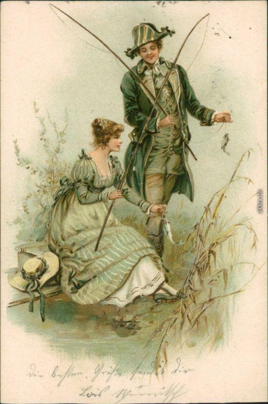 Ansichtskarte  Künstlerkarte - Liebespaar beim Angeln 1902