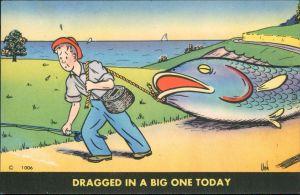 Scherzkarte v. Unk - Mann zieht riesen Fisch an Seil hinterher 1955