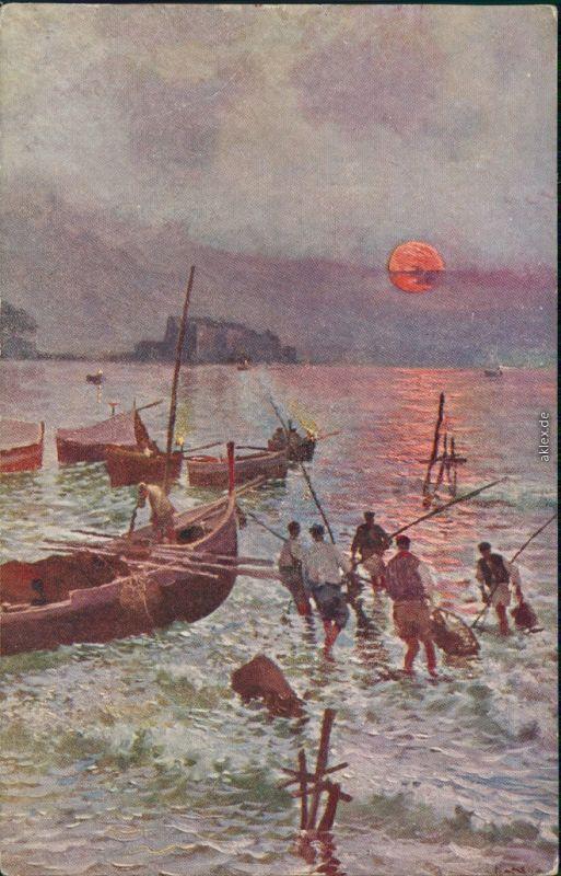 Künstlerkarte: Gemälde - Fischer am Meer mit Booten, Burg 1914