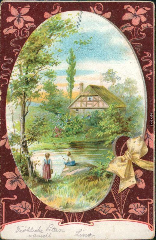 Ansichtskarte  Fischer / Angler - Kinder am Angeln 1903