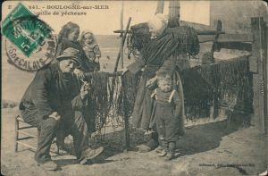 Ansichtskarte Boulogne-sur-Mer Familie de pecheurs/Fischerfamilie 1908
