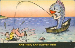 Ansichtskarte  Fisch angelt Angler - Scherzkarte 1939
