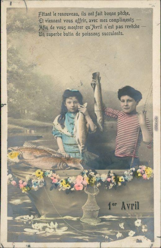 Ansichtskarte  1. April Kinder beim Angeln - Fotokunst 1913