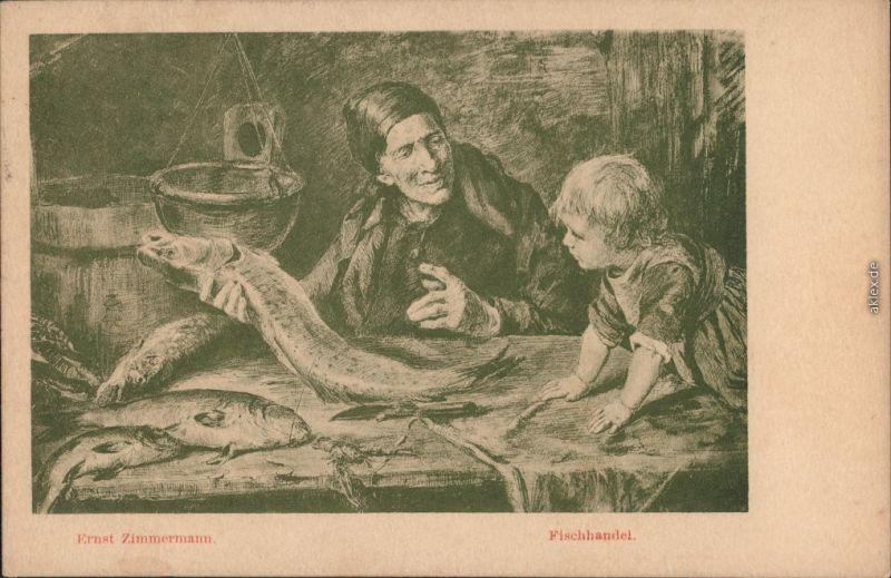 Ansichtskarte  Ernst Zimmermann - Fischhandel 1922