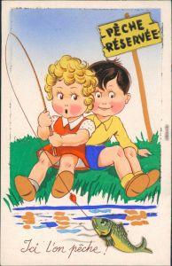 Ansichtskarte  Scherzkarte: Kinder angeln - Fisch reserviert 1953 Prägekarte
