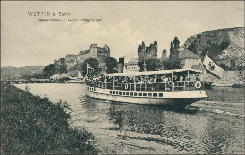 Ansichtskarte Wettin (Saale)-Wettin-Löbejün Dampfer und Schloß 1912