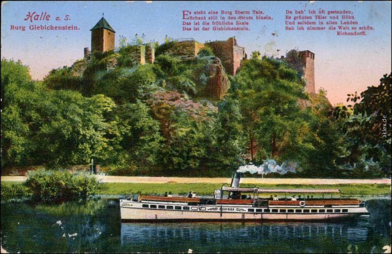 Giebichenstein-Halle (Saale) Dampfer Siegfried vor der Burg 1932