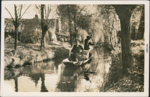 Lübben (Spreewald) Lubin (Błota) Fließ im Spreewald - Kanal - Kahn 1951