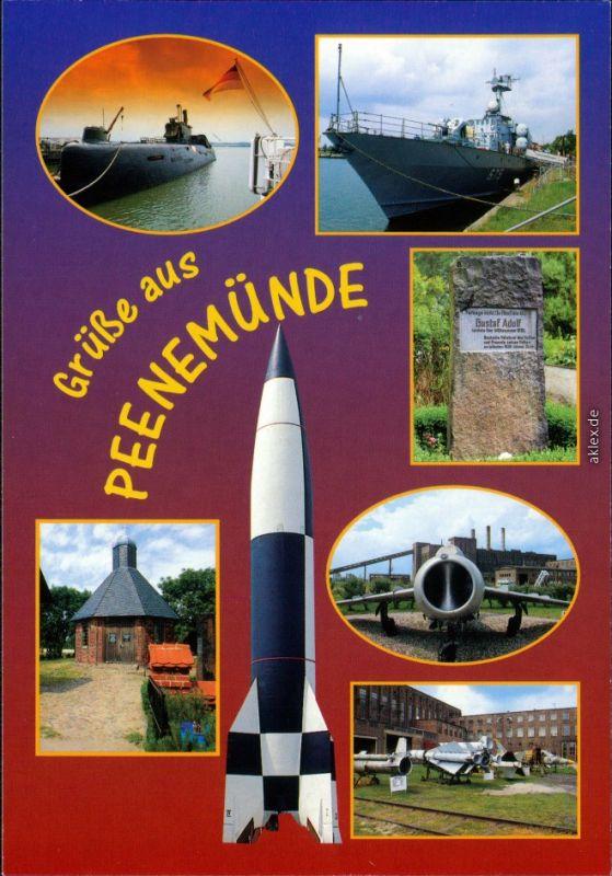 Ansichtskarte Peenemünde U-Boot, Schiff, Denkmal, Kapelle, Flugzeuge 2000