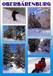 Oberbärenburg-Altenberg (Erzgebirge) Winterliches  Kirche,  Skifahrer 1996