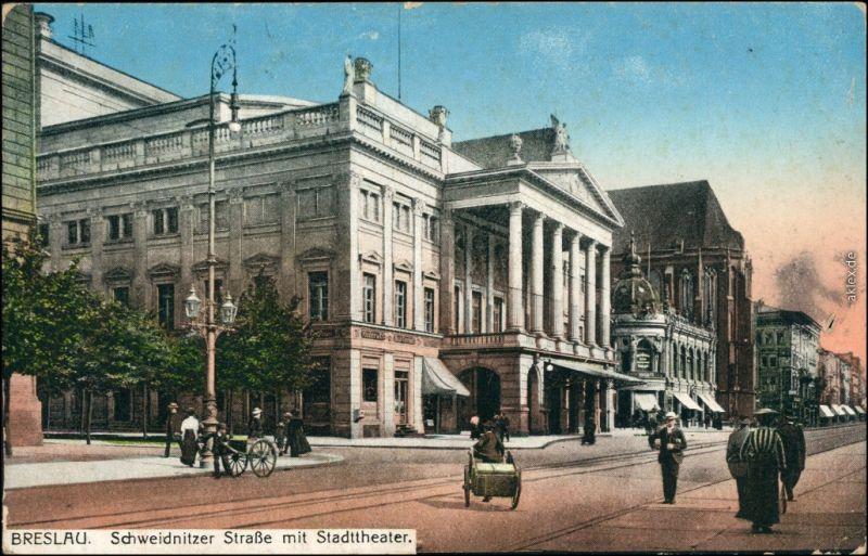 Ansichtskarte Breslau Wrocław Schweidnitzer Straße mit Stadttheater 1915