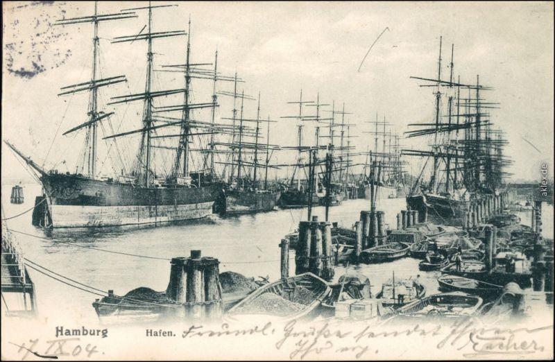 Ansichtskarte Hamburg Segelboote - Hafen 1904