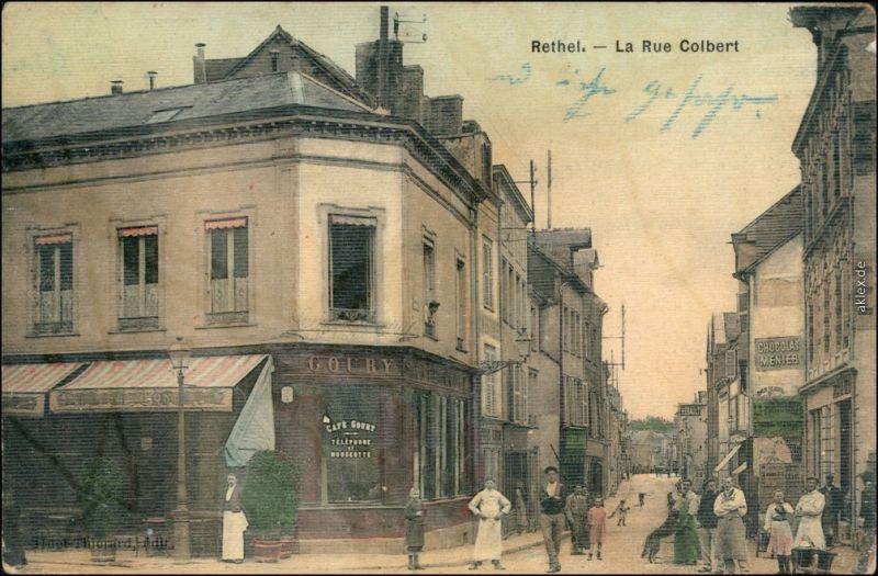 CPA Rethel Rethel La Rue Colbert - Restaurant Ardennes Ardennen 1913