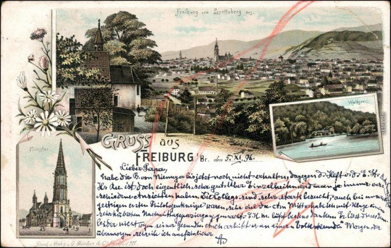 Freiburg im Breisgau 3 Bild Litho: Stadt, Waldsee und Münster 1896