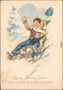 Ansichtskarte  Schlittenfahrt Neujahr Künstlerkarte DDR 1959
