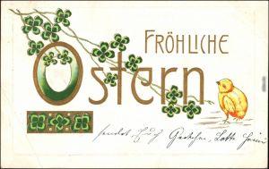 Ansichtskarte  ArtDEKO Ostern Kleeblatt, Küken 1906 Prägekarte