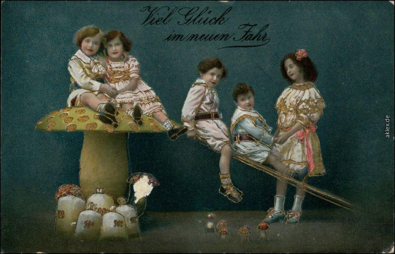 Ansichtskarte  Neujahr, Kinder Pilz und Geldsäcke - Goldrand 1914 Goldrand