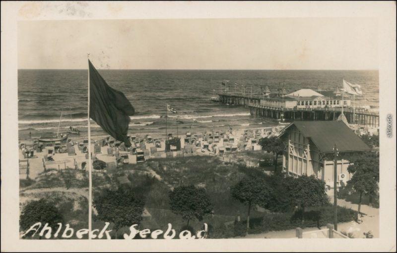 Ansichtskarte Ahlbeck (Usedom) Pavillon, Strand - Seebrücke 1932