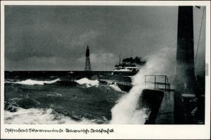 Ansichtskarte Warnemünde-Rostock Fähre, Mole bei Sturm 1929