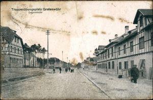 Ansichtskarte Grafenwöhr Lagerstraße - Truppenübungsplatz 1918