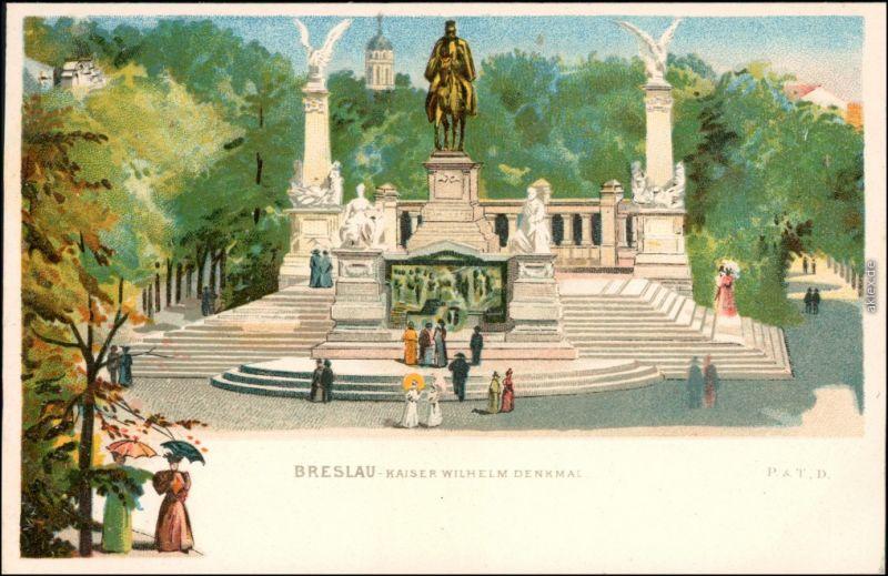 Ansichtskarte Breslau Wrocław Künstlerkarte Kaiser Wilhelm Denkmal 1908