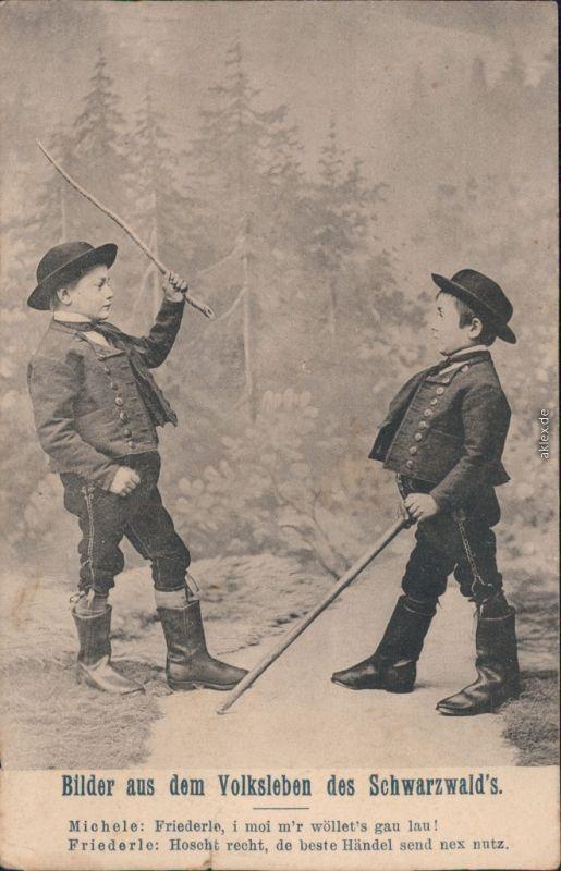 Ansichtskarte  Kinder in Tracht - Bilder aus dem Schwarzwald 1908