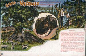 Ansichtskarte  Gruss aus Westfalen - Land der Pumpernickel und Schinken 1914