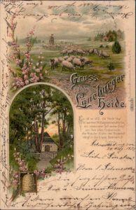 Egestorf Litho AK: Lüneburger Heide, Schafherde, Hütte, Bienenstock 1900